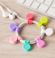 ingrosso scrivania di kawaii-3pcs / pack Carino Magnet Earphone Holder Clip di cavo coreano Kawaii stazionario cavo Winder Organizer Desk Accessorio Desk Set ufficio
