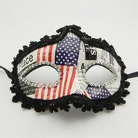 Wholesale leather half face masks for sale - American Flag Mask Leather Cloth American Flag Sparkling Eyeliner Mask Independence Day Party Prom Mask American Flag Props