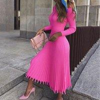 suéteres rosa sexy al por mayor-2019 Partido del diseño del suéter vestido plisado de las mujeres elegantes vestidos de invierno otoño hecho punto rosado Vestido Mujer atractiva caliente Plus Talla XXL