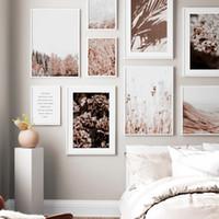 duvar sanatı beatleri toptan satış-Çiçek Yaprakları Orman Buğday Bitki Çiftliği Nordic Posterler Ve Baskılar Duvar Sanatı Oturma Odası Dekor Için Tuval Boyama Duvar Resimleri