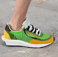 hommes chaussures de mode discount achat en gros de-Remise LDV Gaufre Noir Vert Bleu Hommes Casual Chaussures Pour Nouvelles Femmes Designer Runner Mode Bowling Chaussures Eur36-45