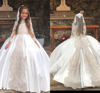 Wholesale yellow lace flower girl dresses resale online - Princess Ball Gown Flower Girl Dresses For Weddings High Neck Lace Appliques Sheer Long Sleeve Girls Pageant Dress Birthday Party Gowns