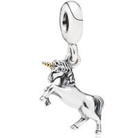 gold einhorn anhänger großhandel-Hohe Qualität Echt S925 Sterling Silber Einhorn Pferd Baumeln Charms Anhänger Fit Für Pandora Armband DIY Perle Charme Mit vergoldetem Horn