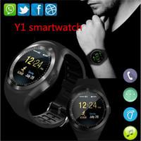 reloj deportivo gsm al por mayor-Y1 más Bluetooth Smart Watch hombres mujeres Relogio SmartWatch Android Llamada de teléfono GSM Sim Información de la cámara remota Podómetro deportivo