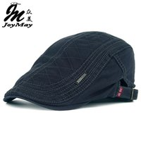 кашетный берет оптовых-JOYMAY новый хлопок береты шапки для мужчин высокое качество nAutumn повседневная остроконечные шапки сетка вышивка берет шляпы Casquette Cap Y006
