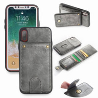 Wholesale note phone holster for sale – best For iPhone X XS MAX XR Plus Crazy Horse Leather Case X Card Case Split cell phone holster combo