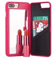 bolsa iphone meninas venda por atacado-Espelho secreto de luxo wallet phone case multi função slot para cartão titular pc wallet pouch case meninas cosméticos tampa do espelho para o iphone 6 7 plus