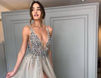 Wholesale plunging neckline sexy photos for sale - Group buy Split Evening Dresses Plunging Neckline Crystal Prom Gowns Custom made Tulle Evening Party Dress Real Pictures Backless Party Gowns