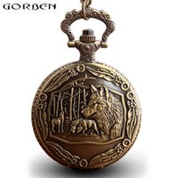 reloj de bolsillo del zodiaco al por mayor-Vintage Cool Chinese Zodiac Dog Wolf Head Reloj de Bolsillo con Cadena de Bronce Antiguo Negro Colgantes Reloj de Estilo de Regalo Para Mujeres Hombres