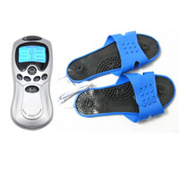 Wholesale women shock therapy massager for sale - Group buy Feet Electro Stimulation Electric Shock Therapy Massager Slipper Foot Care Massage Treatment Health Estim Kit for Women