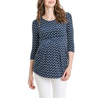 Wholesale dots maternity clothes resale online - vetement femme Women s Maternity pregnancy clothes dress Short Sleeve Floral Tops Breastfeeding Nusring Maternity Clothes