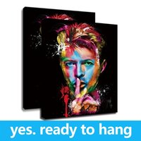 Wholesale hanging plate painting resale online - Framed Canvas Wall Art Famous Portrait Canvas Wall Poster David Bowie Painting Pictures for Home Decor High Quality Artwork Ready To Hang