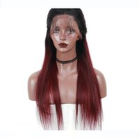 Wholesale burgundy human hair wigs for sale - Group buy 1B Burgundy Lace Front Wig Ombre Human Hair Wigs Lace Frontal Wig Pre Plucked Brazilian Straight Wig Density Remy Dolago
