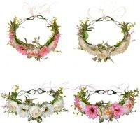 kranz frühling großhandel-Blume Crown Rose Kränze Fünf Farben Manuelle Cane Ästhetizismus Haarband Frauen Künstliche Blumen Frühling Und Herbst Reisen