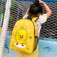 ingrosso borsa di animazione-Animation Duckling Backpack For Boys Girls Bag Zaino semplice per la scuola per il tempo libero Zaino per la scuola materna Studente