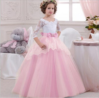 Wholesale long tutu tail for sale - Group buy 2019 New kids ball gowns Bow Hollow Out crystal Lace Applique Princess Dress Children Long Tail Ruffle Pleated Wedding Evening Dress Clothes