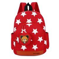 çanta çocukları okulu toptan satış-Çocuklar sırt çantası çocuk Yıldız baskılı karikatür okul çantası anaokulu 3-5 yıl bebek Oxford çift omuz büyük kapasiteli çanta çanta