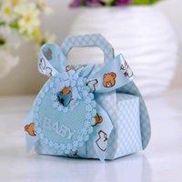 baberos fiesta de boda al por mayor-24pcs / Lot 6.3x3.8x10cm la forma del oso de bricolaje papel del regalo de boda bautizo partido de fiest cajas del favor de la caja de caramelo delicado con Bib Etiquetas Cintas