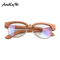очки с половинной рамкой по рецепту оптовых-100% Wood Optical Glasses For Unisex Wooden Frame Semi Rimless Eyeglasses Half Frames Men Spectacles Customize Prescription Lens