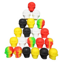 Wholesale electronics smoking for sale - Group buy Human Skull Head Smoke Oil Boxes Silicone Electronic Cigarette Cases Yellow Black White Silicones Organizer New Arrival bs L1