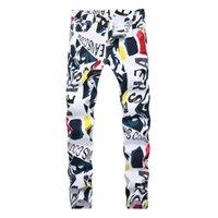 erkek kot pantolon beyaz sığdır toptan satış-Moda streç erkek kot beyaz mektuplar baskı erkekler slim fit elastik rahat pantolon Sıkı kot baskılı pantolon 2019 Yeni marka