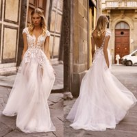 Wholesale short sleeve wedding dresses bridal gowns for sale - Group buy 2020 Lace Wedding Dresses V Neck A Line Sexy Backless Appliqued Country Wedding Dress Custom Made Sweep Train Illusion Bohemian Bridal Gowns