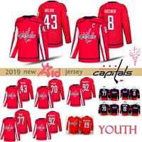 tapete verde do exército venda por atacado-JUVENTUDE Washington Capitals camisola 8 Alex Ovechkin 77 T.J. Oshie Evgeny Kuznetsov 19 19 Nicklas 43 Tom Hockey Jerseys Crianças
