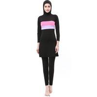 traje de baño musulmán islámico al por mayor-Nuevos trajes de baño musulmanes burkinis Ropa modesta Ropa islámica separada para mujeres Ropa de baño larga muslimah Hijab trajes de baño musulmanes