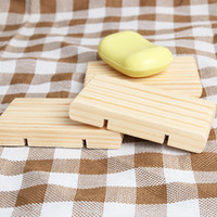 Wholesale wood soap boxes resale online - Wooden Soap Rack Soap Holder Dish Tray Bathroom Shower Storage Support Plate Stand Wood Box Natural Soap Dishes GGA2247