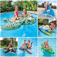 hayvan desteği toptan satış-Su şişme oyuncak havuz kaplumbağa yüzen satır şişme yatak Yetişkin çocuk hayvan damızlık yüzme halka PVC malzeme Ile ...