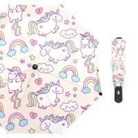 ingrosso ombrelloni aperti automatici-Susino Colorful Rainbow Unicorn Ombrelli pioggia completamente automatico Open Metal Pongee Compatto a tre pieghe Ombrello Unicorni animali T8190619