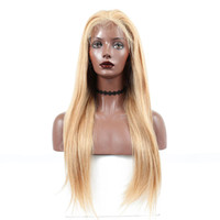 european blonde full lace wigs venda por atacado-Perucas de Cabelo Humano Loiro dourado Em Linha Reta Peruca Dianteira Do Laço Virgem Europeu Sem Cola Cabelo Humano Perucas Cheias Do Laço Com o Bebê Cor Do Cabelo # 27