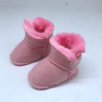 botas de invierno para bebés al por mayor-Botas de bebé para niños y niñas Zapatos de invierno Mis primeros caminantes para bebés Botas de color sólido para bebés