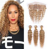 sarışın brazilian dalga saç paketleri toptan satış-Bal Sarışın Brezilyalı Derin Dalga İnsan Saç Paketler Frontal Dantel Kapatma # 27 ile Açık Kahverengi Derin Kıvırcık Bakire Saç Örgü ile 13x4 Frontal