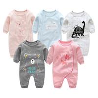 bebek giyim tilki toptan satış-Bebek Tulum Yenidoğan Tulumlar Düğmeleri Pamuk Çizgili Süt Dinozor Ayı Tilki Karikatür Baskılı Uzun Kollu Bebek Erkek Kız Giysi Tasarımcısı