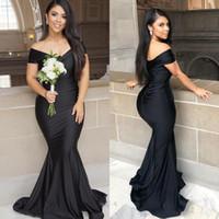 простое черное платье плюс размер оптовых-Черный плюс размер Русалка платья невесты с плеча формальные вечерние платья Платья выпускного вечера складки дешевые простой халат де суаре