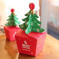 regalo de navidad presente cajas al por mayor-20pcs / lot Merry Christmas Tree Gift Box, Cookie Cholocate Paper Box, Christmas Favor Boxes, Present Gift Box