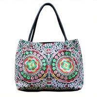 ethnisch gestickte handtaschen großhandel-Ethnischen Stil Bestickte Handtasche Mode Handtasche Allgleiches Schulter Lagerung Tragetaschen Outdoor Persönlichkeit Frauen Mädchen Strandtasche