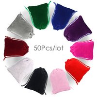 Wholesale small velvet gift bags resale online - 50Pcs Drawstring Velvet Bag x7 x9 x12 x15cm Pouches Small size Jewelry Gift Display Packing Bags Can customized