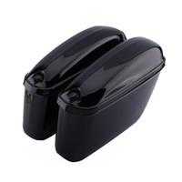 ingrosso side box bag-1pair Motorcycle Cruiser Hard Trunk Saddle Bag Side Bagagli per Harley Softail DYNA Hard Trunk Saddle Bags Side Box motos