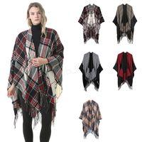 poncho-wickelmantel großhandel-Frauen Wolle Schal Strickjacke 130 * 150 cm Patchwork Plaid Poncho Cape Quaste Winter Warme Decke Mantel Wrap Schal outwear Mantel LJJA2983