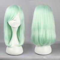ingrosso capelli lunghi anime cosplay-Anime Harajuku Lolita Parrucche Cosplay 45cm Capelli lisci taglio di capelli verde chiaro Parrucca Cosplay Moda acconciature