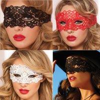 ingrosso maschere piene di fronte sexy-La metà pizzo rosso sexy Zorro maschera di protezione locale notturno del partito di divertimento Eye Mask Maschera di travestimento di Halloween di trasporto