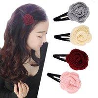 koreanische niedliche frisurmädchen großhandel-Neue Winter Kintted Woolen Blume Haarspangen Korean Style Cute Knitting Floral Rose Headwear Haarnadeln Mädchen Haarspangen
