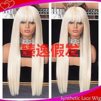 peluca larga franja recta al por mayor-MHAZEL 26in larga recta blanca rubia # 60 peluca delantera del cordón sintético de flecos completos con flequillo para mujer
