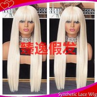 Wholesale wigs fringes bangs resale online - MHAZEL in long straight white blonde full fringe synthetic lace front wig with bangs for woman
