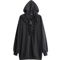 ingrosso felpa con fiocco-SHENGPALAE 2019 New Spring Fashion Black Colletto con cappuccio Manica lunga Allentato Big Size Zippers Ruffles Donna Felpa SC773