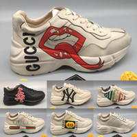 Wholesale rubber lips for sale - Group buy Mens Rhyton Sneaker with Mouth Lip Print NY Yankees Women Luxury Vintage Trainer Men Designer Mountain Climbing Shoes Oversize Eur35