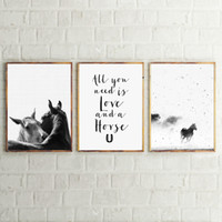 dekoration weißes pferd großhandel-Horse Art Decor Leinwanddrucke und Poster, Schwarz und Weiß Animal Horse Nordic Leinwanddruck Home Moderne Wandkunst Dekoration