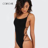 ingrosso sottili bodysuits-COLROVIE Strappy Backless Body Donna nero senza maniche Summer Beach Hot Body Navy Scoop Neck Cross Slim Cami Body